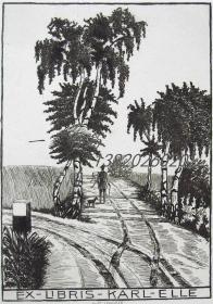 德国Kurt SPRINGER铜版藏书票 —《乡间小路的车折痕》 1913