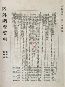 侵华史料《内外调查资料》1923年第一辑。有满洲事变和对外关系、排日有关资料、国际联盟与满洲事变、张学良、排日侮日、中国国民性等内容。