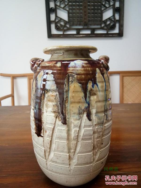 信乐烧花瓶 明山造 耳付花入 日本古窑民风 茶道花道具