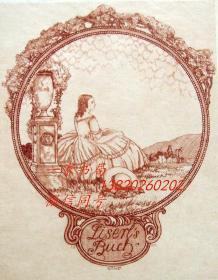 """德国著名版画家""""Hubert Wilm(1887-1953)""""铜版藏书票——《草地上读书的闺秀》1911"""