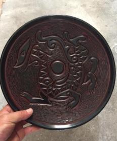 漆器盘 漆器图腾纹饰赏盘 品相好