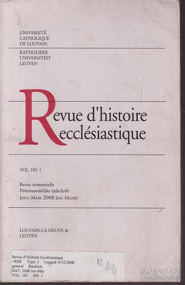 Revue dhistoire ecclésiastique VOL. 103.1(法语原版 传教士史杂志)