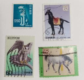 外国日本邮票动物(信销票4枚没有重复不是一套票)