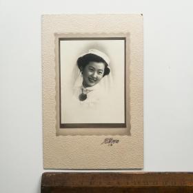 老 照片 结婚照 婚纱照 两张合售 50年代 一张有底板