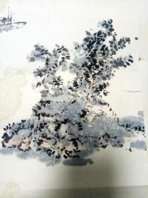"""老画家袁子愚1992年绘 """"江山入画图""""       【45×45厘米】"""