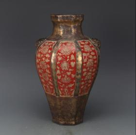 古铜彩祭红花卉【兽头瓶】