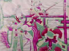 清代顺治年间老版七八十年代印凤翔木刻木版年画版画*西游记故事之求真经*46*30cm。凤翔南小里木版年画研究会出品