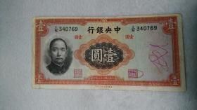 民国二十五年 中央银行 壹元纸币