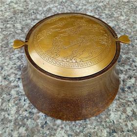 铜器自动倒灰翻斗烟灰缸烟具摆件