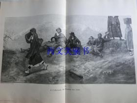 【现货 包邮】1890年巨幅木刻版画《佐里奥的女儿》(Die Tochter des Jorio)尺寸约56*41厘米  (货号 18018)