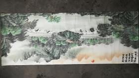 【湘西-风光】山水画--广东书画名家-黄三舍-等绘【包真迹】175x68cm