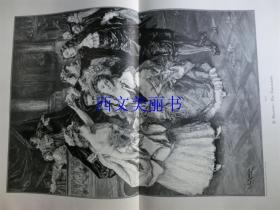 【现货 包邮】1890年巨幅木刻版画《马赛的法兰多拉舞》(Die Farandole)尺寸约56*41厘米(货号 18018)