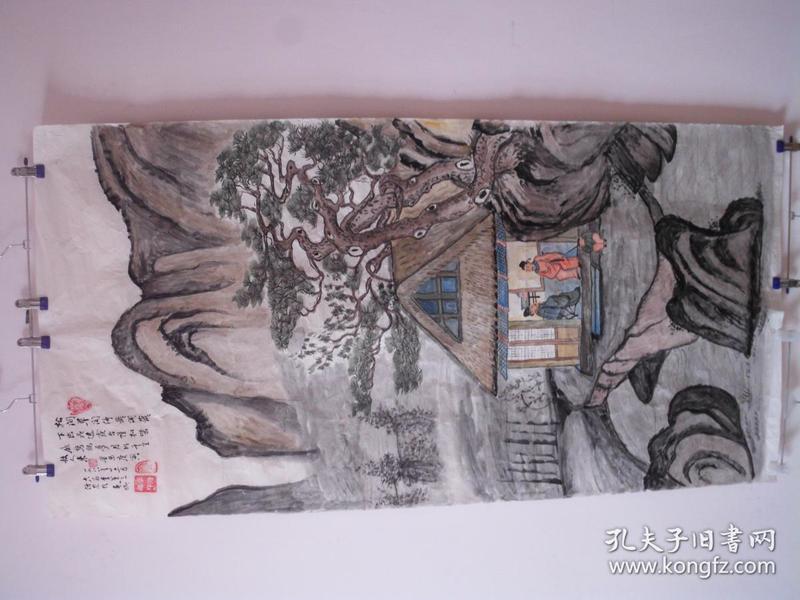 手繪彩色國畫  仿唐寅題畫九首:松間草閣依巖開……  136厘米高  69.5厘米寬  貨號12