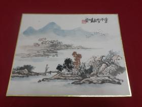 寅午年北京著名画家:子渊落款的绘画小品一幅,27*22厘米,托裱纸板实物拍照书影如一