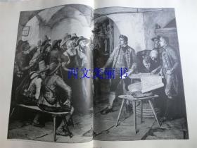 【现货 包邮】1890年巨幅木刻版画《在蒂罗尔反抗拿破仑的领袖约瑟夫·斯佩克巴彻》(Speckbacher)尺寸约56*41厘米  (货号 18018)