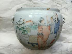 晚清画瓷名家 马庆云 浅绛人物瓷罐《管鲍之交旷世情》