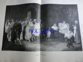 【现货 包邮】1890年巨幅木刻版画《婴儿受洗礼结束后》(Die Taufe)尺寸约56*41厘米  (货号 18018)
