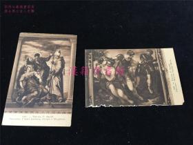 百年前欧洲明信片2张。宗教人物故事,女性、士兵等,有点似铜版画或素描画。Venesia