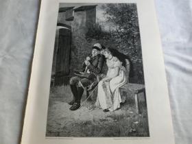 【百元包邮】1890年木刻版画《求知》Eifriges Stutium  尺寸约41*28厘米(货号 18016)