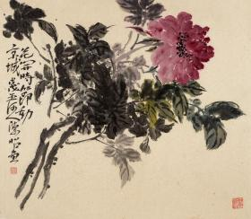 著名青年画家陈昭博士精品新作《花开时节动京城》【53*46CM、面貌一新的大写意佳作】