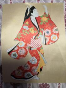 日本丝织网印浮世绘仕女14cm×12 cm