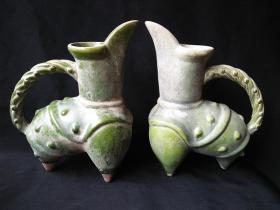 唐代绿釉祭祀礼器陶鬶一对