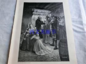 【百元包邮】1890年木刻版画《逮捕法国国王路易十六和王后玛丽》 Verhaftung Ludwigs XVI und Marie Antoinettes  尺寸约41*28厘米(货号 18016)
