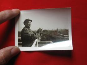 老照片毛主席在天安门城楼上拍手1枚