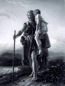 """【名画系列】1864年《欧洲艺术瑰宝》钢板画—《贝利萨留》 """"热拉尔(Francois Gerard,1770-1837年)""""作品 附文字介绍34x26cm"""