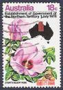 外国邮票-澳大利亚1972年大丽花(右上黑色是澳大利亚地图)信销票