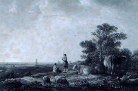 """【名画系列】1864年《欧洲艺术瑰宝》钢板画—《郊外午休》 """"夸普(Aelbert Cuyp,1620-1691年)""""作品 附文字介绍 34x26cm"""