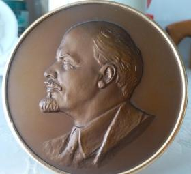 早期苏联制列宁像铜摆件(品相好)