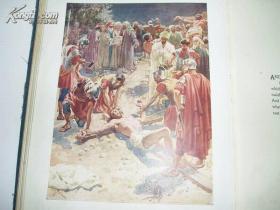 百年老书!THE LIFE OF JESUS OF NAZARETH 拿撒勒人耶稣的一生(清末16开英文原版书,布面烫金压花豪华精装,书顶刷金, 珍贵初版本,一页一文一图,彩色印刷,威廉•霍尔圣经名画《耶稣生平》画集