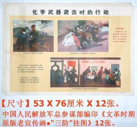 """文革印刷品:《文革时期原版老宣传画●""""三防""""挂图》12张.。 【尺寸】53 X 76厘米 X 12张.。"""