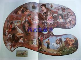 【现货 包邮】1890年巨幅彩色平版印刷版画《艺术家的调色板》(kunstler-palette.ruck-ansicht) 尺寸约56*41厘米 (货号 18018)