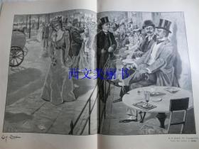 【现货 包邮】1890年巨幅平版印刷画《Die Kranzler Ecke Unter den Linden zu Berlin》尺寸约56*41厘米 (货号 18018)