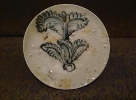 古玩文玩收藏类:明 青花花卉纹老瓷片 QH-0026