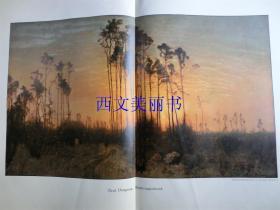 【现货 包邮】1890年巨幅彩色平版印刷版画《春天的傍晚》(Frühlingsabend)尺寸约56*41厘米  (货号 18018)