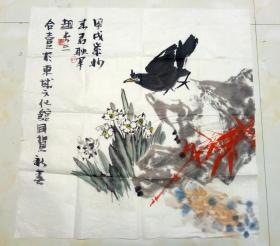 中国书法家协会会员、北京市美术家协会会员 耿军、来君、赵长 三人合 绘清供图     【68×68厘米】