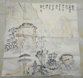 中国美术家协会会员,具升值潜力的青年画家、赵杰 水墨画  高士图     【68×68厘米】