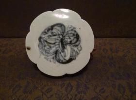 古玩文玩收藏类:明 青花花卉纹老瓷片 QH-0017