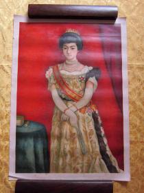 民国早期 大正五年、六年 大坂日本精板印刷 大开张 男、女版画两幅  大坂每日新闻