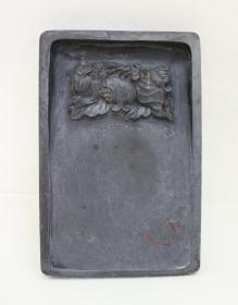 旧喜鹊石榴纹歙砚一方 约2.8斤重 附原盒 自藏处理(文物公司早期外销商品)