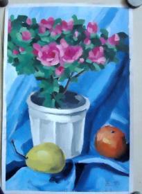 油画  花和水果  汪婷画  26*40CM