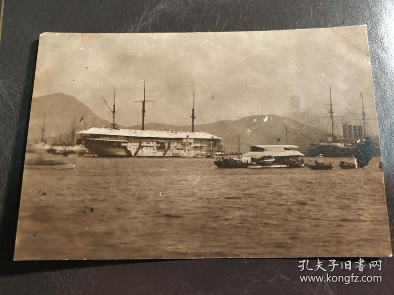 民国香港维港添马褴Tamar舰船老照片一张