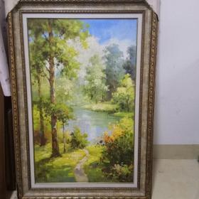 大幅油画《森林》带框.长99厘米x宽69厘米