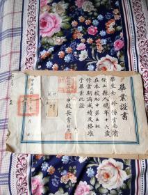 中华民国三十六年保山县中学毕业证书。残缺上半部被撕毁。