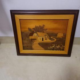 木贴画《乡村》长55厘米X45厘米