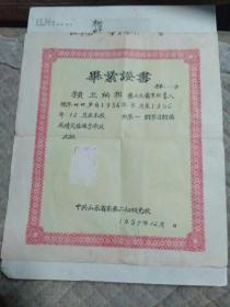 一九五七年山东省委第二初级党校毕业证书 .,