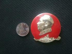 毛主席像章,军舰,干革命靠毛泽东思想,3343部队——1978